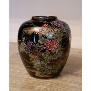 Vintage Japan Small Vase Black Floral Flowers